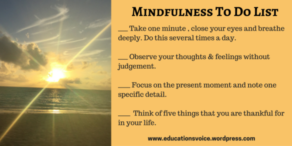 A Teacher's Mindfulness- Mindfulness To Do List